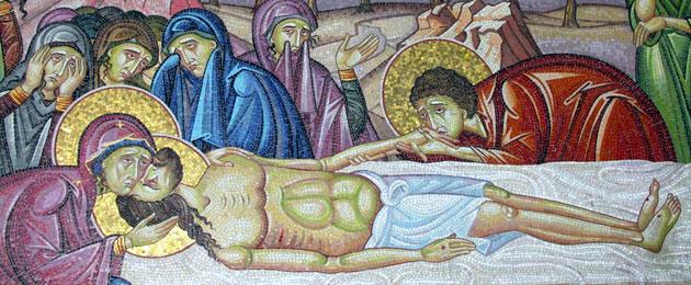 Mosaik Grablegung Jesu