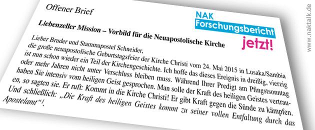 Offener Brief Stammapostel Schneider - Liebenzeller Mission