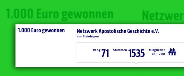 1000 Euro für Netzwerk Apostolische Geschichte
