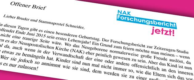 Ein Jahr NAK-Forschungsbericht - Offener Brief