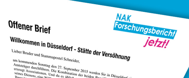Offener Brief an Stammapostel Schneider - Düsseldorf 2015