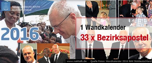 NAK Wandkalender 2016 - Bezirksapostel Superstar