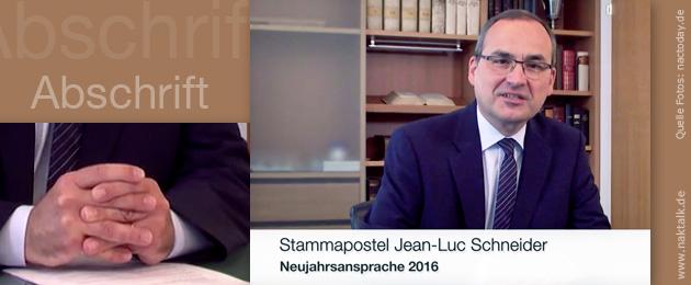 Neujahrsansprache 2016 Stammapostel Schneider