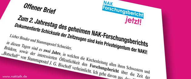 Offener Brief zum zweiten Jahrestag des NAK-Forschungsberichts