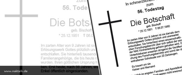 56. Todestag der Botschaft von J. G. Bischoff