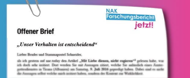 Offener Brief an Stammapostel Schneider