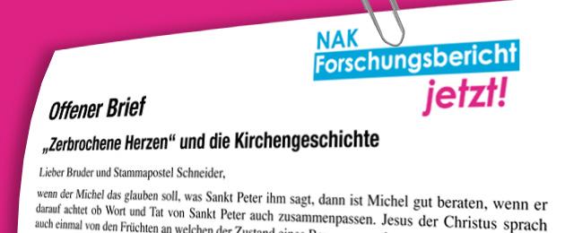 Offener Brief an Stammapostel Schneider - Zerbrochene Herzen