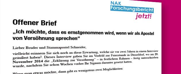 Offener Brief an Stammapostel Schneider zur Versöhnung