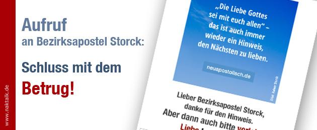 Bezirksapostel Storck: Schluss mit dem Betrug!