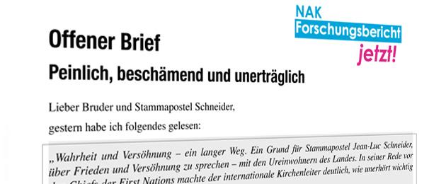 Offener Brief an Stammapostel Jean-Luc Schneider