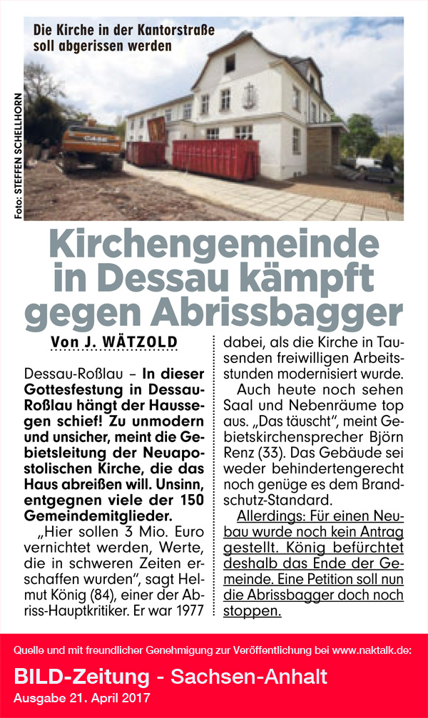 Bild-Zeitung: Kirchengemeinde in Dessau kämpft gegen Abrissbagger