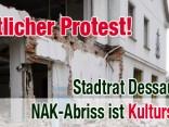 Protest Stadtrat Dessau gegen NAK-Abriss