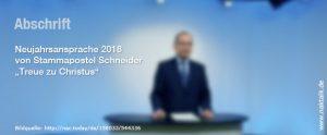 Neujahrsansprache 2018 Stammapostel Jean-Luc Schneider