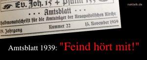 NAK Amtsblatt 1939 Feind hört mit