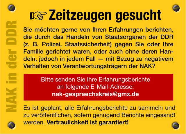NAK in der DDR - Zeitzeugen gesucht