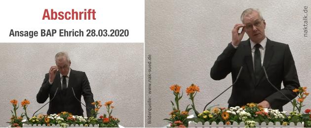 Abschrift Ansage Bezirksapostel Ehrich am 28.03.2020