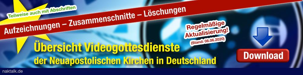 Übersicht Videogottesdienste der Neuapostolischen Kirchen in Deutschland
