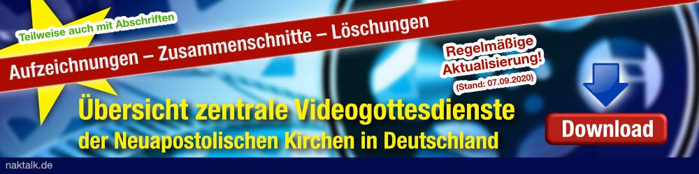 Übersicht zentrale Videogottesdienste der Neuapostolischen Kirchen in Deutschland