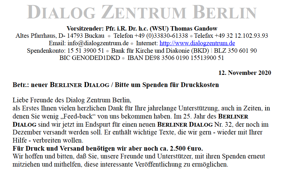 Spendenaufruf Berliner Dialog