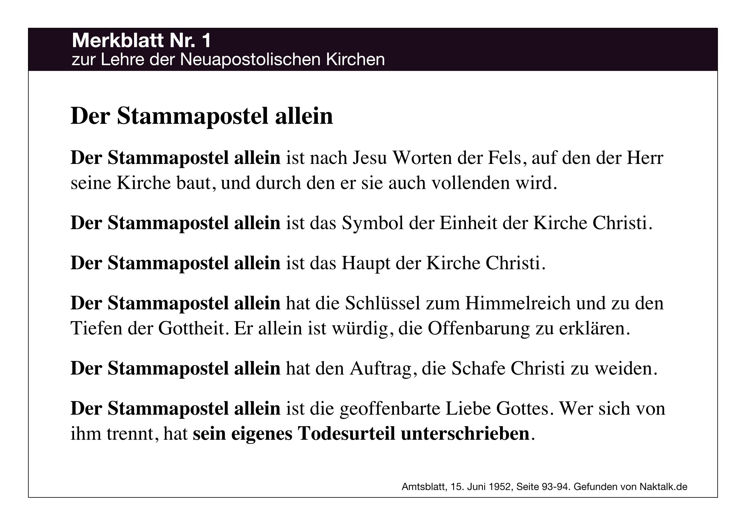 Merkblatt Nummer 1 zur Lehre der Neuapostolischen Kirche NAK: Der Stammapostel allein