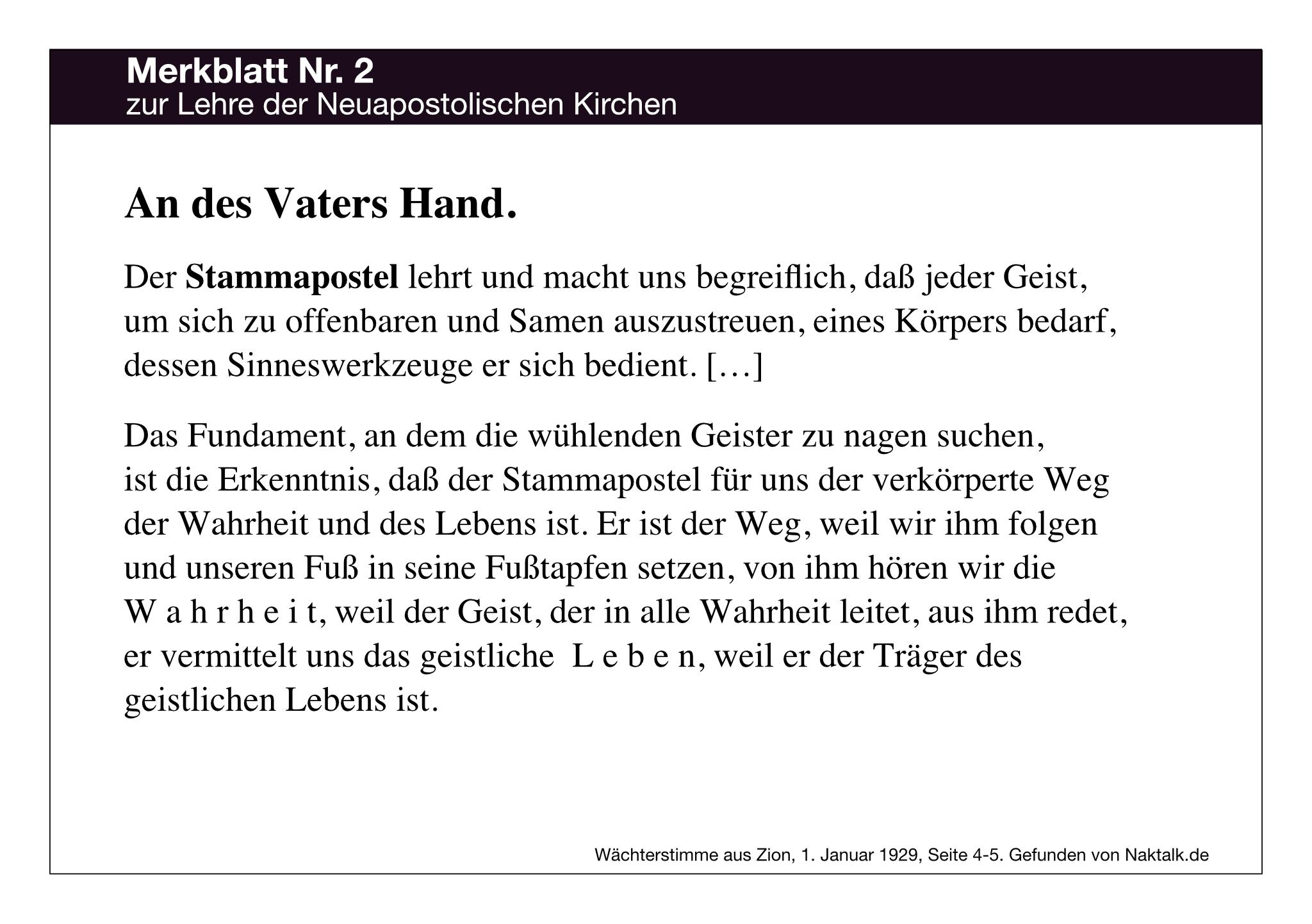 Merkblatt Nummer 1 zur Lehre der Neuapostolischen Kirche NAK: An des Vaters (Niehaus) Hand